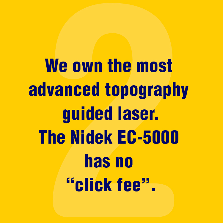 "We own the most advanced topography guided laser. The Nidek EC-5000 Quest has no ""click fee""."